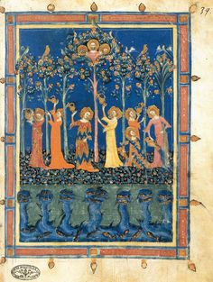 (Now those are some wild dresses. The sleeves are awesome too.) The Garden of the Virtues - Illumination on parchment Biblioteca Apostolica, Vatican. MASTER of the Dominican Effigies Italian illuminator (active c. 1328–1350 in Florence)