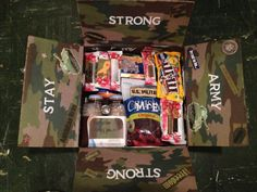 "14 Care package ideas for Army soldiers. can't wait to send some ""themed"" packages to my son. Army Boyfriend Gifts, Boyfriend Care Package, Army Gifts, Deployment Gifts, Deployment Care Packages, Military Deployment, Military Spouse, Soldier Care Packages, Soldier Care Package Ideas"