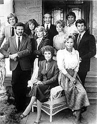 Falcon Crest  ~  Jane Wyman; Robert Foxworth; Susan Sullivan; Lorenzo Lamas; David Selby; Abby Dalton; Margaret Ladd; Ana Alicia; Jamie Rose; William R. Moses; Laura Johnson; Chao-Li Chi; Mel Ferrer; Cliff Robertson; Simon MacCorkindale; Sarah Douglas; Paul Freeman; Morgan Fairchild; Cesar Romero; Ken Olin; John Callahan; Dana Sparks; Brett Cullen; David Beecroft; Kristian Alfonso; Gregory Harrison; Wendy Phillips; Andrea Thompson and Rod Taylor  ~  December 1981 - May 1990