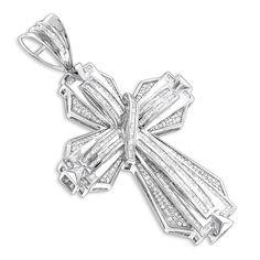 Baguette set mens pendant white solid sterling silver jewelry gift jesus cross #NikiGems #Pendant