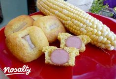 Falatnyi corn dog | Nosalty Corn Dogs, Bagel, Muffin, Doughnut, Bread, Breakfast, Desserts, Food, Morning Coffee