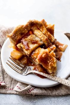 cinnamon pear pie with homemade caramel and a buttery pie crust