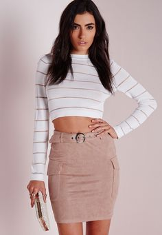 Missguided - Faux Suede Mini Skirt Taupe