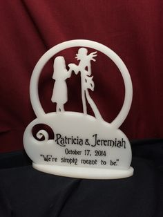 Nightmare before Christmas cake topper. Personalized to your request.  Order at: http://www.best-engraving.com/nightmare_before_christmas_cake_topper.aspx