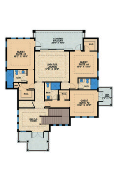 Contemporary Style House Plan - 4 Beds 6 Baths 6300 Sq/Ft Plan #548-21 Floor Plan - Upper Floor Plan - Houseplans.com