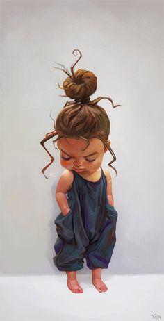 Cute girl, Ilina Simova on ArtStation at… Art And Illustration, Art Black Love, Black Girl Art, Art Anime Fille, Anime Art Girl, Cartoon Kunst, Cartoon Art, Art Mignon, Cute Cartoon Pictures
