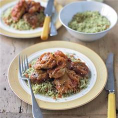 Chicken tagine with figs and fruity couscous recipe