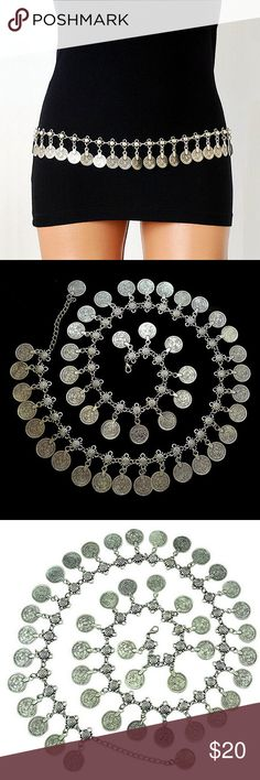 """Gypsy Coin Body Chain Belt Stunning Bohemian Coin Body Chain  Size: 1.5"""" x 32""""  Material: Silver-tone Base Metals  Nickel & Lead Free  NWT Accessories Belts"""