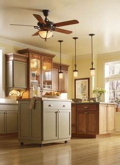 Small Island Under Awesome Kitchen Ceiling Lights With Wooden Ceiling Fan On Cream Ceiling
