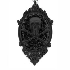 """Skull & Bones"" Necklace by Gasoline Glamour (Matte Black) #InkedShop  So love this!"