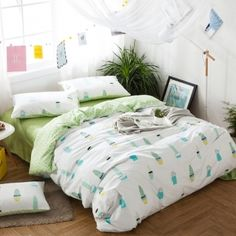 Hipster Pastel Mint Green Blue Yellow and White Potting Cactus Print Unique Kids 100% Cotton Twin, Full, Queen Size Bedding Sets