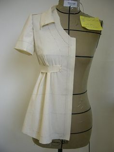 Draping on the dress form.