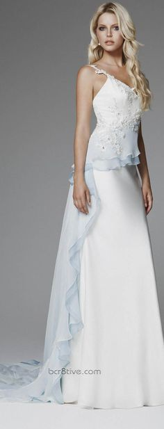 Something old, something new, something borrowed, something blue …. These lovely Designer wedding gowns are from the 2013 Bridal Collection from Blumarine. It's such a feminine & classic collection. The lines are long, fabrics are light, layers fall softly and drape elegantly. The baby blue reminds me of a soft …