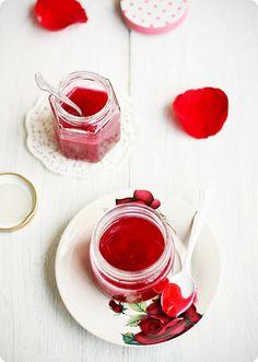Rose Petal Jam - Note: Strain out petals before pouring into jar - Note: 1Tbsp liquid pectin (1/2 fl.oz) = 2tsp powdered pectin (8.5g)