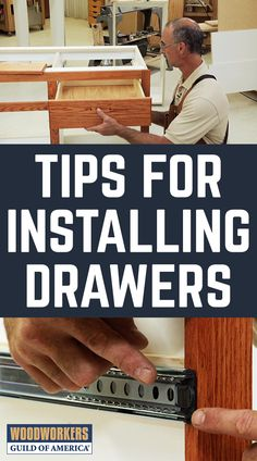 Mechanical drawer slides make it easy to open and close a drawer, but you've got to insert the drawer correctly to make sure you don't destroy the slide and end up with bearings all over the floor. Check out these drawer installation tips. Woodworking Joints, Woodworking Videos, Woodworking Furniture, Fine Woodworking, Woodworking Crafts, Wood Furniture, Woodworking Basics, Woodworking Essentials, Japanese Woodworking