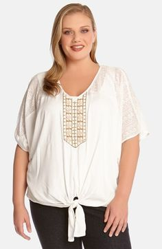 Karen Kane Plus Size Fashion Coronado Beaded Tie Front Top available from Nordstrom #Plus_Size_Lace #Coronado #White #Lace #Inset #Beaded #Tie_Front #Top #Fashion #Plus #Plus_Size #Plus_Size_Fashion #Nordstrom