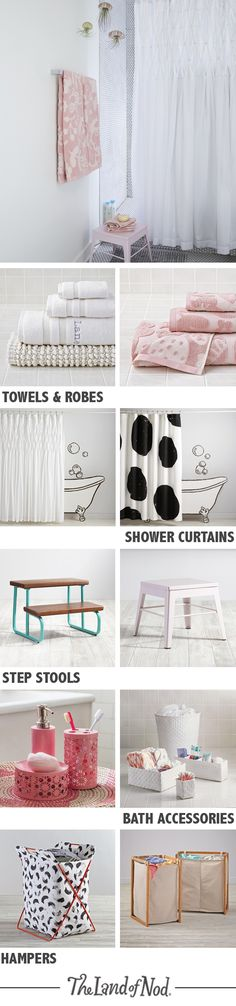 Need a design refresher? The Land of Nod has tons of kids bathroom ideas for girls and boys. From kids towels and robes to bath toys, there are tons of stylish ways to brighten the bathroom. Add pops of color with a kids shower curtain and vibrant bath mat—they're super easy to mix and match. Plus, a step stool and hamper will top off any bathroom design.