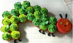 Hungry Caterpillar cupcakes - might use the head as her smash cake?