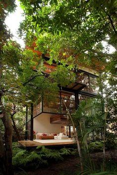 Amo este volumen con pisos multiples en medio de los árboles.