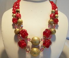 Marbled Red Gold Pink Necklace Multi Strand by GretelsTreasures