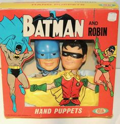 1966 Ideal Batman and Robin hand puppets. in EXTREEMLY RARE FACTORY ORIGINAL BOX! Never removed from the original factory box in 50 years! The top box seem looks worn and the seam is coming apart. Keep in mind this item is over 50 years old. Do NOT expect a new packaging! This box is considered the very best looking by many Batman collectors. Try finding another ORIGINAL one. Payment by PayPal only within 3 days of auction end. Free insured Priority shipping to the Continental U.S. only…