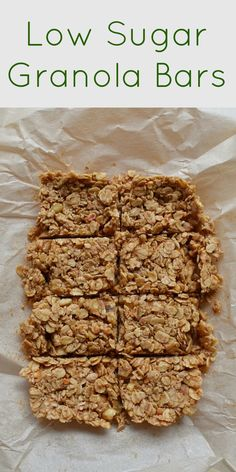 These Low Sugar Granola Bars are the perfect on-the-go snack. They only have 7 ingredients and have more protein that sugar per serving! Low Calorie Granola, Low Sugar Granola, Healthy Granola Bars, Homemade Granola Bars, Low Sugar Protein Bars, Vegan Protein Bars, Healthy Protein Snacks, Protein Cake, Protein Muffins