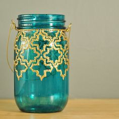 Mason Jar Lantern, Hand Painted Moroccan Design on Teal Glass with Gold Detailing.