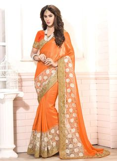 Exquisite Embroidered Work Designer Saree