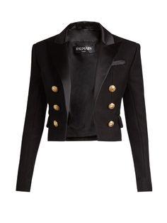 Balmain Satin-lapel cropped blazer