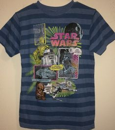 98ee270b90 Youth 10 12 Blue Tag 1980s 90s Star Wars T shirt Short Sleeve Striped