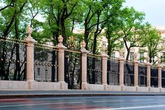 Wrought-iron fence of the Summer Garden in St Petersburg, Russia