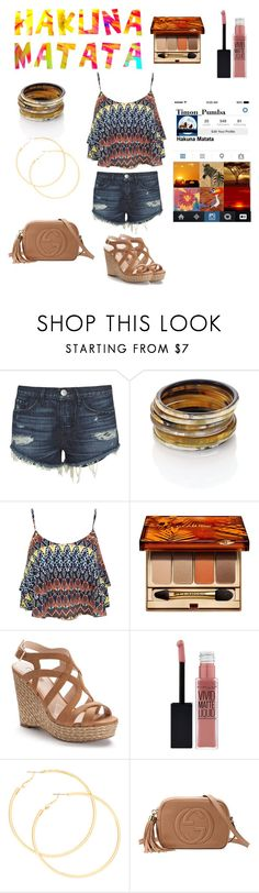 """Hakuna Matata Insta//The Lion King"" by maggieoquinn ❤ liked on Polyvore featuring 3x1, Nest, Miss Selfridge, Clarins, Jennifer Lopez, Maybelline, claire's, Gucci, MARA and Belli"
