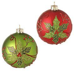 RAZ Imports Poinsettia Ball Ornaments