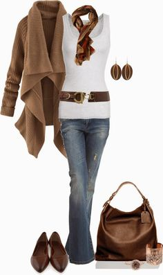 Casual Outfit of jeans, white top w/ brown belt, brown cardigan & accessories