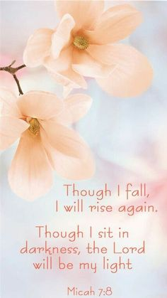 Micah Bible verse~ Though I fall, I will rise again. Though I sit in darkness, the Lord will be my light. Spiritual inspiration and scripture of saving faith. God restores us./ AMEN , YOUR NOT ALONE, YOUR MY ANGEL Bible Verses Quotes, Bible Scriptures, Faith Quotes, Bible Quotes For Teens, Hope Scripture, Healing Scriptures, Biblical Verses, Heart Quotes, Religious Quotes