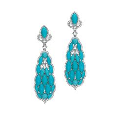 Reserve 18K White Gold Diamond & Turquoise Drop Earrings
