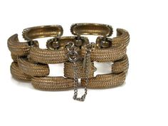 Vintage Monet Textured Link Bracelet by TheFashionDen on Etsy