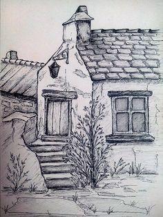 Namenloses Gasthaus - My Gel Pen Drawings - Landscape Pencil Drawings, Landscape Sketch, Pencil Art Drawings, Art Drawings Sketches, Easy Drawings, Urban Sketching, Pen Art, Drawing Techniques, Painting & Drawing