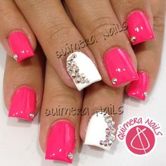Gorgeous pink, white, diamond nails ✿⊱╮