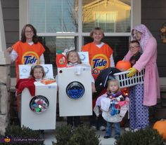 The family who does laundry together does Halloween together dressed as laundry. | 33 Family Halloween Costumes That Are Absolutely Fantastic