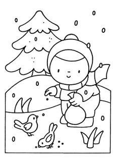 garden winter coloring pages | Feeding birds in your garden coloring page | Vogels voeren ...