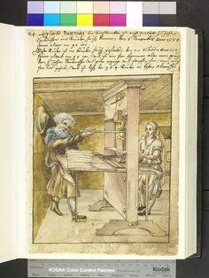 1558, printer. leather apron, plunderhosen  Die Hausbücher der Nürnberger Zwölfbrüderstiftungen