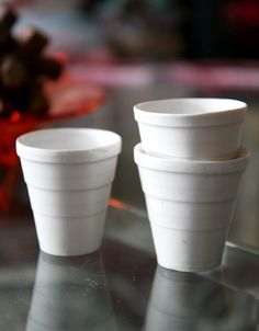 porcelain versions of Dart styrofoam cups - Miri Mizrahi