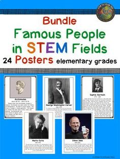 This is a collection of 24 single page posters of famous scientists, inventors, engineers, and mathematicians. Perfect for your STEM lab! Each poster includes a picture of the famous person and a short description of his/her contributions written appropriately for