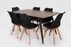 Tia Dining Table Dark wood MDF table Black metal legs x x cm Nissi Black Dining Chair PP seat Beech wood legs x x cm
