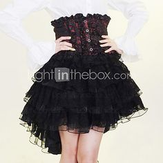 Knee-length+Black+and+Red+and+White+Cotton+Gothic+Lolita+Skirt+-+USD+$49.99