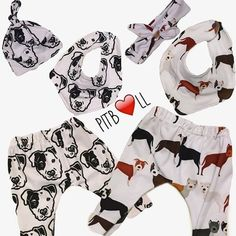 These adorable white leggings feature black Pit Bull faces, with a patch on the eye. Super cute and fun for a baby boy or baby girl. These leggings are made out