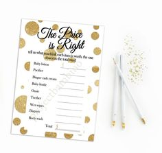The price is right baby shower game printable polka dot glitter gold dots