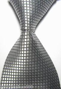 New Classic Solid Checks Silver JACQUARD WOVEN 100% Silk Men's Tie Necktie