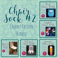Stop floor scratches and screeching chair legs. Save off individual pattern prices! Chair Socks, Cat Paws, Custom Items, Hand Crochet, Crochet Patterns, Owl, Gallery Wall, Floor, Legs
